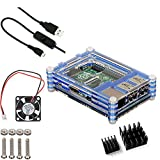4 in 1 Professional Kit for Raspberry Pi 3 & Raspberry Pi 2 and Raspberry Pi B+,blue Sliced 9 Layers Case Box + Cooling Fan +micro USB Cable with Turn/on Switch ,Heatsinks