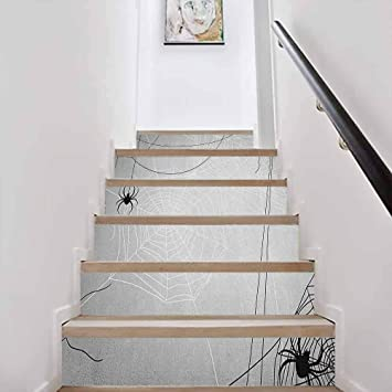 Amazon Com Vinyl Staircase Stickers Wallpaper Decor Spider Web Spiders Hanging From Webs Halloween Inspired Des Home Decor Staircase Decal Tile Stickers Decals W39 3 X H7 08 Inch X6pcs Baby