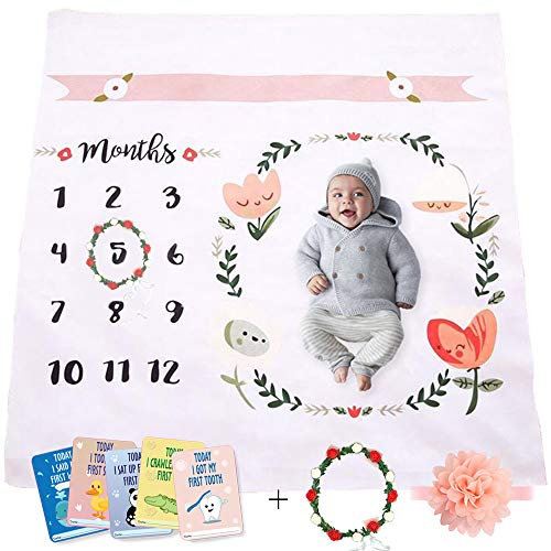 (Baby Monthly Milestone Blanket | Throw for Infant & Babies 0-3 Months, 3-6, 6-9, 9-12 Photography Backdrop Photo Prop for Newborn Boy & Girl - New Mom Baby Shower Gift (Multi))
