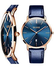 OLEVS Mens Wrist Watches Ultra Thin 6.5mm Minimalist Business Dress Waterproof & Date & Leather Strap Slim Watches for Men