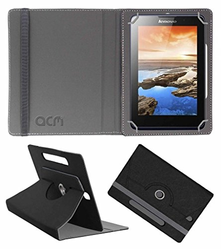 Acm Designer Rotating Leather Flip Case Compatible with Lenovo A7 50 A3500 Tablet Cover Stand Black