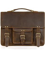 Jack&Chris Leather Briefcases For Men Shoulder Laptop Bag Leather Messenger Bag(Cowhide Grain Leather