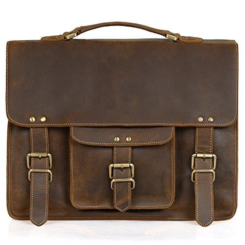 Jack&Chris Vintage Men's Leather Briefcase Messenger Bag Fits 15.6'' Laptop, MB006B by Jack&Chris