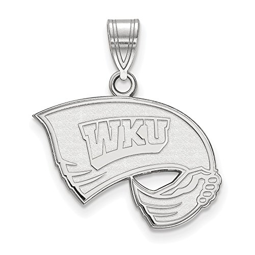 925 Sterling Silver Officially Licensed Western Kentucky University College Medium Pendant (24 mm x 21 mm) by Mia Diamonds and Co.