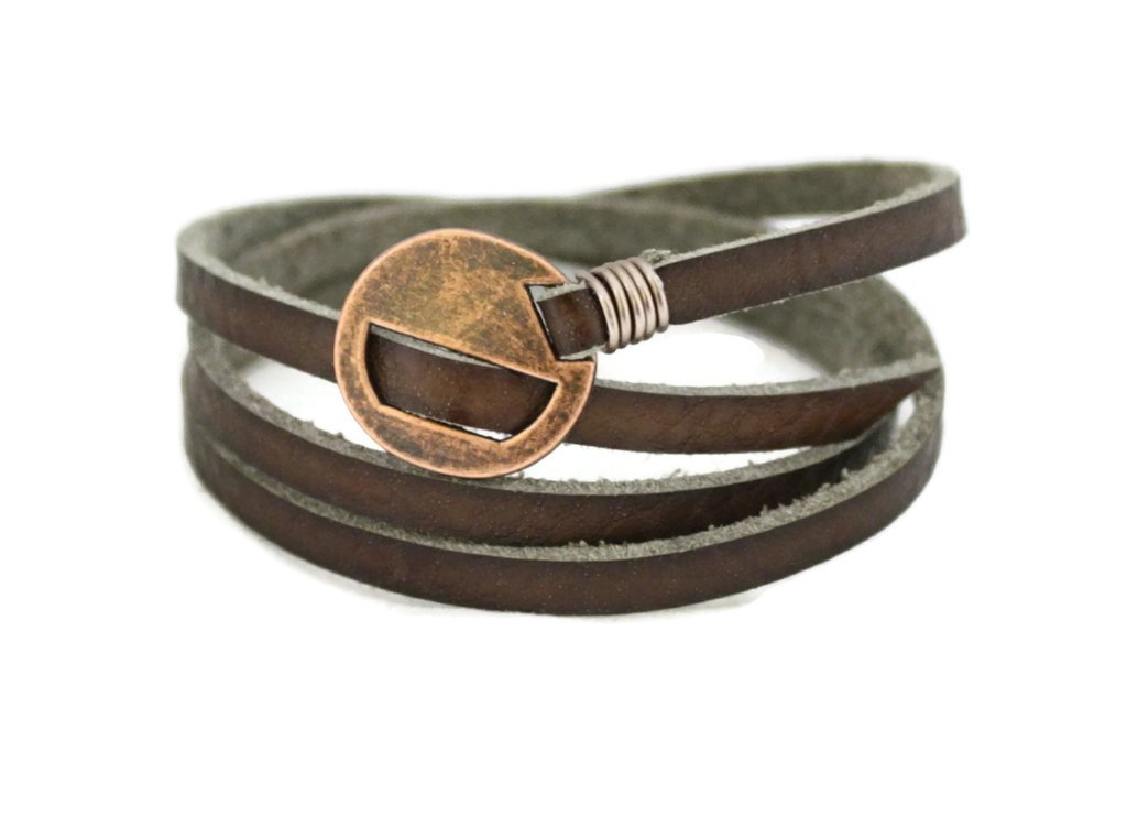 ''Wrapped'' Brown Leather Essential Oil Bracelet by Destination Oils