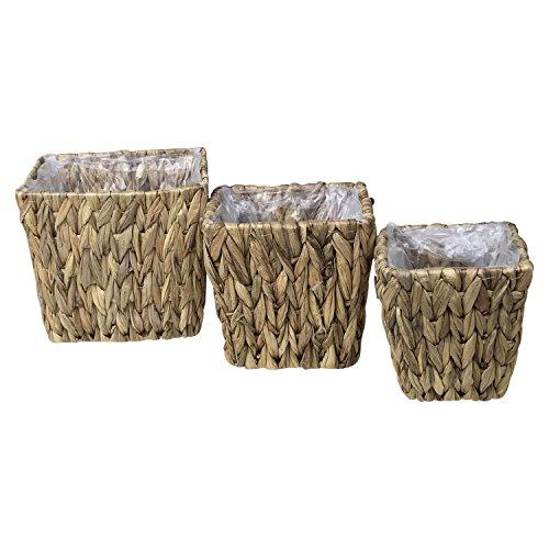 Water Hyacinth Square Wicker Basket Planters - Nesting set of (Well Planter Basket)