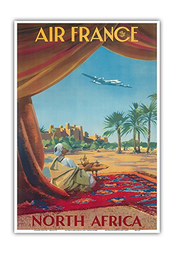 Pacifica Island Art North Africa - Saharan Desert - France - Vintage Airline Travel Poster by Vincent Guerra c.1950 - Master Art Print - 13in x 19in