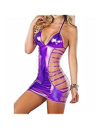 KENROLL Sexy Leather Lingerie Bandage Backless Bodycon Mini Nightclub Dress