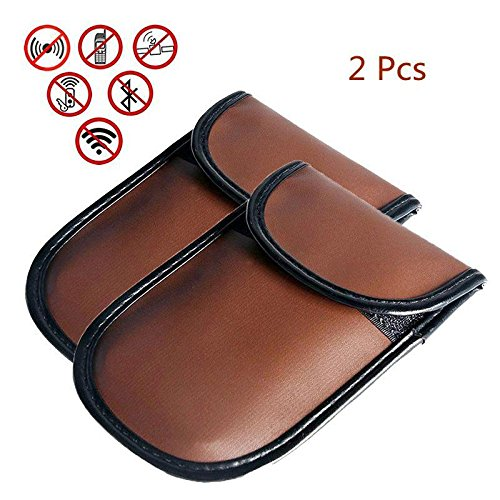- 2 Pack Anti-tracking Anti-spying GPS Rfid Signal Blocker Pouch Case Bag, Handset Function Bag for Cell Phone Privacy Protection and Car Key Fob, Brown