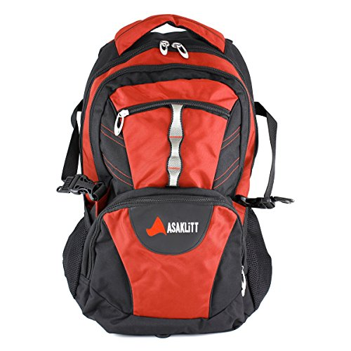 Askalitt Casual Durable Backpack, 35 Liter, 15 inch laptop + Macbook sleeve, red