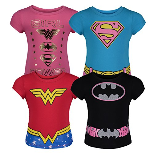 Warner Bros. Toddler Girls' 4pk T-Shirts Batgirl Supergirl Wonder Woman (4T)