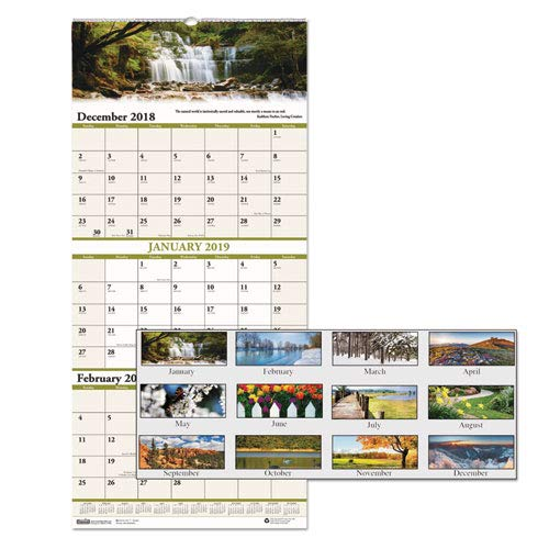 (Recycled Scenic Landscapes Three-Months/Page Wall Calendar, 12.25x26, 2018-2020)