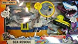 Mattel Matchbox Mega Rig Sea Rescue with Shark Ship and Squid Sub with Extra Shark, Missile, Winch, Matchbox Man