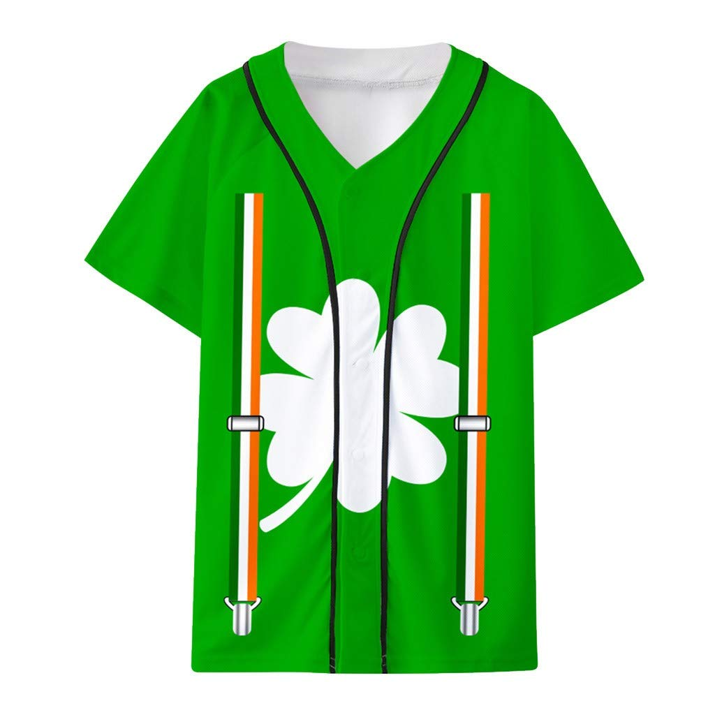 St. Patrick's Day Unisex Men's 3D Printed Button Short Sleeve Cardigan T-Shirt, Fashion Casual Funny Tops Neutral, Festival UK Plus Size 8-20