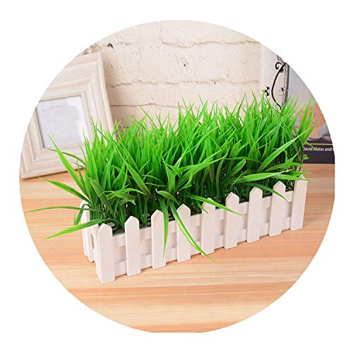 (Artificial Plant Green Grass Decor Flower Bonsai Green Plant Fake Flower Potted for Wedding Home Garden Decor Bonsai Green Grass,30cm )