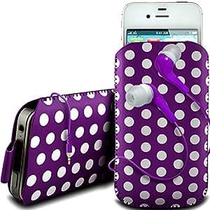 N4U Online - BlackBerry Bold 9790 de Protección de la PU de diseño polka cordón de cuero lengüeta de tracción antideslizante en caso de la bolsa con cierre rápido y 3.5mm Auriculares ergonómicos - Púrpura