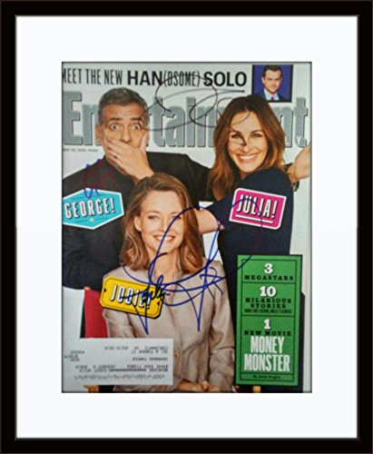 Framed-George-Clooney-Julia-Roberts-Jodie-Foster-Magazine-Autograph-with-Certficate-of-Authenticity
