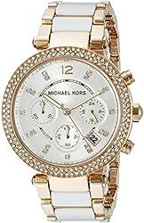 Michael Kors Women's MK5774 Parker Rose Gold-Tone White Watch