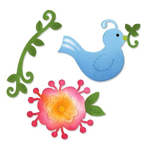 Sizzix Sizzlits Die Set 3PK - Bird & Flower Vine Set by Dena Designs by Sizzix