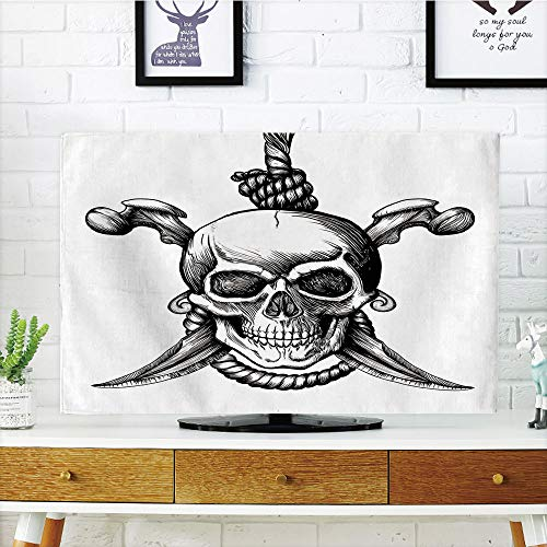 iPrint LCD TV dust Cover Customizable,Pirate,Jolly Roger Skull with Two Knifes Bones and Hanging Rope Gothic Criminal Halloween Decorative,Black White,Graph Customization Design Compatible 65