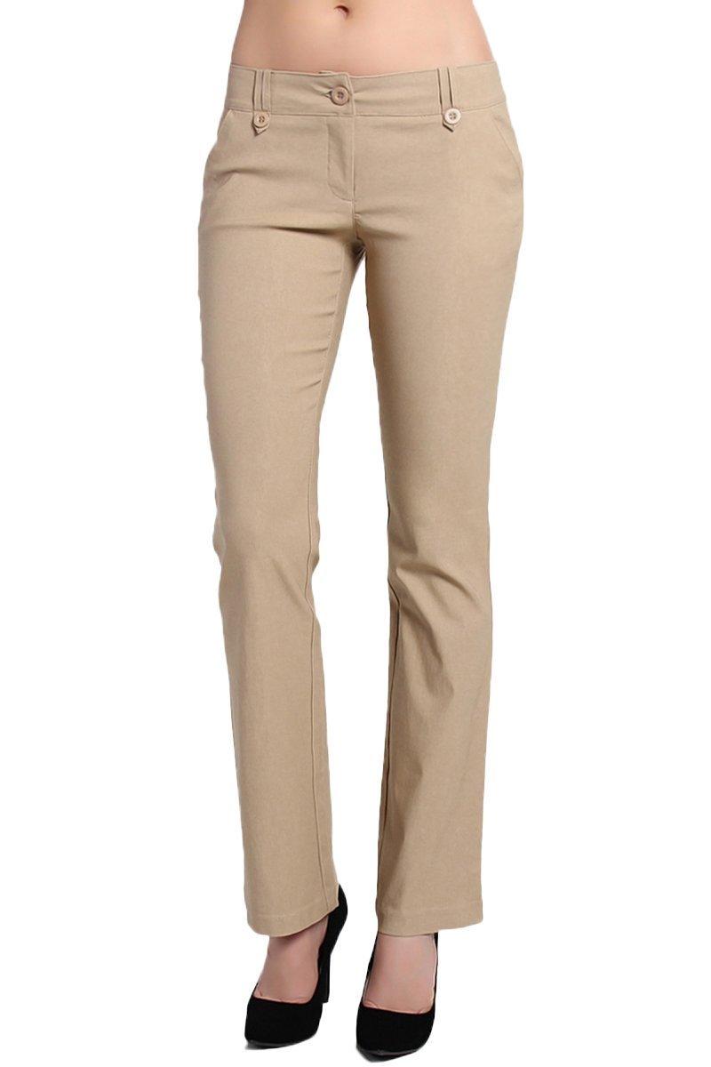 TheMogan Women's Simple Straight Bootcut Stretch Trouser Pants Khaki S