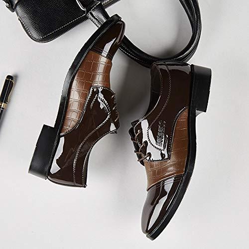 Uomo EU ASHOP Moderno 38 Sportive Nero Coccodrillo in Marrone Stringato EU Busness Scarpe di 47 Pelle Pelle Scarpe in Marrone Classico x4wEqq
