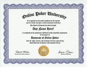 Amazon.com: Online Poker Gambling Degree: Custom Gag Diploma ...