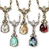 Sweet Romance Swarovski Crystal Teardrop Pendant Simple Bridesmaids Vintage Wedding Necklace