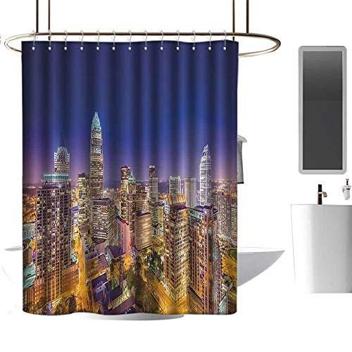 Brandosn Shower Curtains Wide Tap,Panoramic North Carolina Uptown Sky at Night Cityscape Luminous Town Picture,Indigo Orange Waterproof Bath Curtain W72 xH96 inch