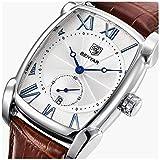 Classic Retro Rectangle Watches Men Brown Genuine Leather Men's Watch Quartz Business Wrist Watch For Men