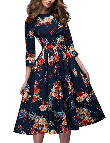 Aishow Womens Vintage Floral Print Three Quarter Sleeve O Neck Cocktail Party Dress