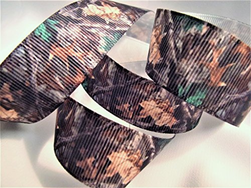 (Grosgrain Ribbon - Brown with Leaves and Branches Camouflage Print- 7/8