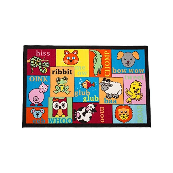 Playmat Play Rug Educational Area Rug for Kids, Babt, Toddler, Juvenile, 31.5×48″, Perfect Carpet for Children Bedroom, Playroom, Nursery room, and Game room-Animal Sounds