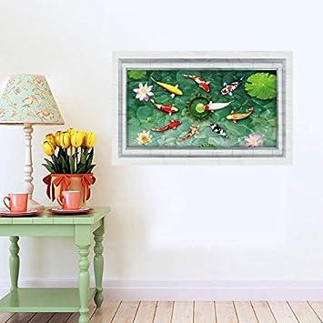 Llxln Kreative Home Decor D Wall Sticker Lotus Teich Goldfische - Fliesen 60x90
