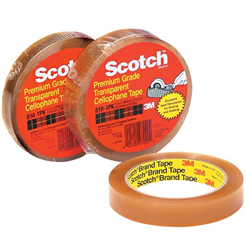 Scotch 610 Natural Rubber Premium Cellophane Adhesive Tape, 2.3 mil Thick, 72 yds Length x 3/4
