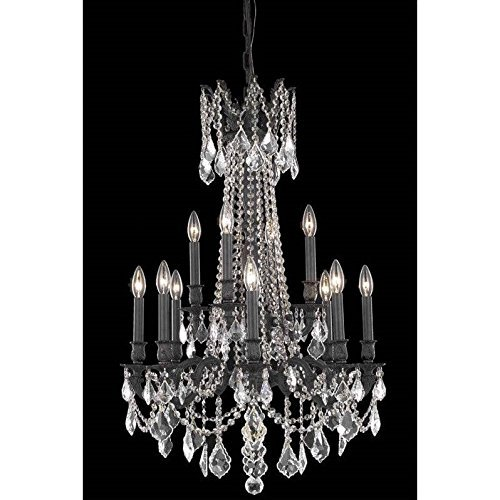Elegant Lighting 9212D24DB/RC Rosalia Collection 12-Light Hanging Fixture with Royal Cut Crystals, Dark Bronze Finish