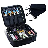 Travel Makeup Case,Chomeiu- Professional Cosmetic Makeup Bag Organizer Makeup Boxes With Compartments Neceser De Maquillaje (Black-M)