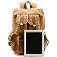 DRF Canvas DSLR SLR Camera Case Backpack Hiking Travel Bag Fit 17 Laptop BG-15 (Khaki)