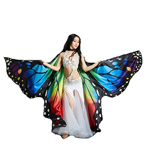 Angel Rainbow Belly Dance Isis Wings Butterfly Isis Wings Christmas Gift(No Sticks) -