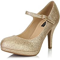 DailyShoes Women's Fashion Round Toe Buckle Strap Dress Cushioned High Heel Shoes