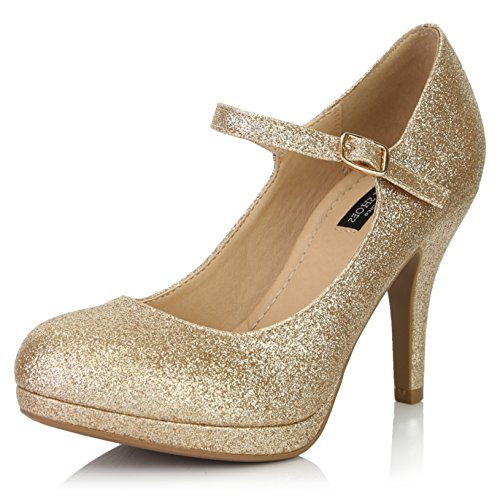 DailyShoes Women's Fashion Round Toe Buckle Strap Dress Cushioned High Heel Shoes, Gold Glitter, 8.5 B(M) US