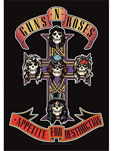 Heart Rock Bandiera Originale Guns N' Roses Cross, Tessuto,, 110x75x0.1 cm VD-HFL1005