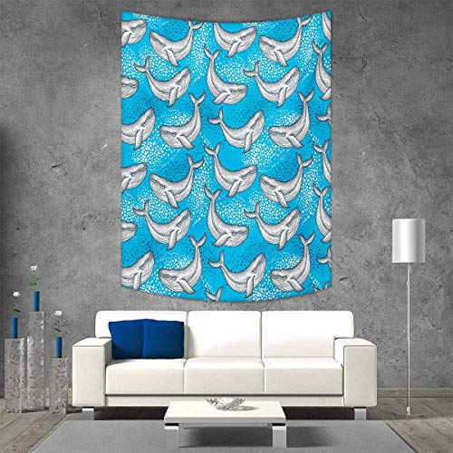 smallbeefly Sea Animals Wall Tapestry Dotted Humpback Whale Maritime Theme Summer Artwork Style Ornament Ocean Design Home Decorations Living Room Bedroom 51W x 60L INCH Blue Grey ()