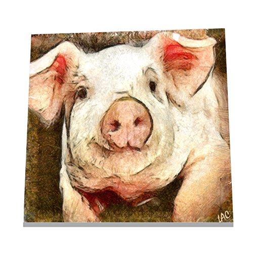 (Pig - Petunia - 6 Inch Ceramic Trivet/Decorative Tile)