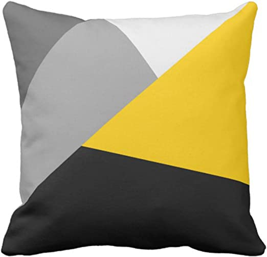 Emvency Throw Pillow Cover Contemporary Simple Modern Gray Yellow and Black  Geometric Decorative Pillow Case Home Decor Square 9 x 9 Inch Pillowcase