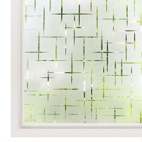 Rabbitgoo 3D Cross Pattern Frosted No Glue Static Cling Privacy Glass Window Films 17.5 x 78.7 inches
