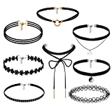 Jewelry for Women Rings,8 Pieces Choker Necklace Set Stretch Velvet Classic Gothic Tattoo Lace Choker,Novelty Rings,Black,Women Jewelry