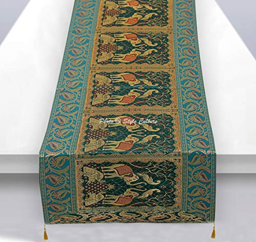 Traditional Rectangular Green - Stylo Culture Brocade Jacquard Coffee Table Runner Dark Green Rectangular Bohemian Traditional Living Room Decor Elephant Peacock Decorative Center Table Cloth | 60x16 Inches (152 x 40 cm)