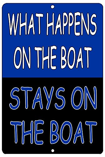 Rogue River Tactical Funny Fishing Boat Metal Tin Sign Wall Decor Man Cave Bar What Happens On The Boat Stays