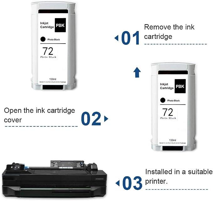 SMARTOMI Remanufacturado 72 Compatibles con HP 72 Cartucho de Tinta para Designjet T610 T770 T790e T1300e T1100 T1100PS T1120 T1120PS T1200 T1200PS T1200 HD Multifunction T2300e Multifunction: Amazon.es: Oficina y papelería